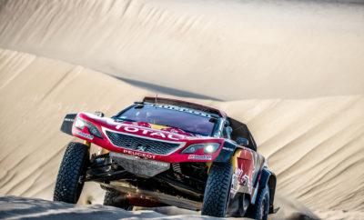 5η ειδική διαδρομή (San Juan De Marcona - Arequipa): Ανάμεικτα τα συναισθήματα στην Team PEUGEOT Total. Τα 3008DKR Maxi σημείωσαν τον 1ο, 4ο και 8ο καλύτερο χρόνο στην χτεσινή ειδική διαδρομή έχοντας επικρατήσει στις πέντε συνολικά που έχουν γίνει μέχρι τώρα. Ωστόσο, οι εννέα φορές Παγκόσμιοι Πρωταθλητές στο WRC, οι Sébastien Loeb/Daniel Elena αναγκάστηκαν να εγκαταλείψουν για ιατρικούς λόγους, μετά από τον τραυματισμό του Elena. • Οι Stéphane Peterhansel/Jean-Paul Cottret εξαργύρωσαν με τον καλύτερο τρόπο την καλή τους εκκίνηση για την πρώτη τους νίκη σε φετινή ειδική διαδρομή, δημιουργώντας μία διαφορά 31 λεπτών από τους δεύτερους στην γενική κατάταξη Carlos Sainz/Lucas Cruz. • Οι Sébastien Loeb/Daniel Elena εγκατέλειψαν ενώ βρισκόντουσαν στην 2η θέση της γενικής κατάταξης. Πέντε χιλιόμετρα μετά την εκκίνηση έπεσαν σε ένα μεγάλο άνοιγμα μετά από έναν αμμόλοφο και παγιδεύτηκαν. Κατά το πέσιμο ο Daniel Elena είχε έντονο πόνο στο στέρνο και στον κόκκυγα. Με την βοήθεια ενός φορτηγού το PEUGEOT 3008DKR Maxi ξεκόλλησε και ήταν σε θέση να συνεχίσει. Όχι όμως και ο Elena. Έτσι το πλήρωμα αναγκάστηκε να εγκαταλείψει και ο συνοδηγός του Loeb να περάσει από ιατρικές εξετάσεις. • Οι Carlos Sainz/Lucas Cruz είχαν μία καλή ειδική και διατηρώντας ένα καλό ρυθμό δεν ρίσκαραν σε κανένα σημείο. Σημείωσαν την 4η καλύτερη επίδοση και βρίσκονται στην 2η θέση της γενικής κατάταξης. • Μετά από την άτυχη στιγμή που είχαν χτες και σχεδόν άυπνοι, οι Cyril Despres/David Castera έδωσαν μια πραγματική μάχη και με το επισκευασμένο PEUGEOT 3008DKR Maxi κατάφεραν να κάνουν τον 9ο καλύτερο χρόνο. Η κατάταξη στην 5η ειδική διαδρομή 1. Stéphane Peterhansel (FRA) / Jean-Paul Cottret (FRA), PEUGEOT 3008DKR Maxi, 2h51m19s 2. Bernhard Ten Brinke (NED) / Michel Perin (FRA), Toyota 4WD, +4m52s 3. Giniel de Villiers (ZAF) / Dirk von Zitzewitz (ZAF), Toyota 4WD, +12m47s 4. Carlos Sainz (ESP) / Lucas Cruz (ESP), PEUGEOT 3008 DKR Maxi, +18m10s 5. Nasser Al Attiyah (QAT) / Matthieu Baumel (FRA), Toyota 4WD, 