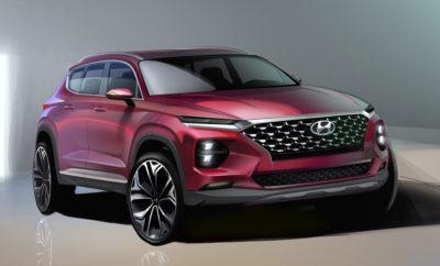 πρώτη γεύση του νέου Santa Fe • Νέα πολυτελής και εντυπωσιακή σχεδιαστική προσέγγιση SUV μέσω του νέου Santa Fe 31 Ιανουαρίου 2018 - Η Hyundai Motor έδωσε στη δημοσιότητα 2 φωτογραφίες teaser που αποτελούν μια πρώτη εκδοχή της νέας επερχόμενης γενιάς Santa Fe, παρουσιάζοντας ένα πολυτελές και εντυπωσιακό σχεδιαστικά SUV, βασισμένο στην ισχυρή, κομψή και ογκώδη σύνθεσή του, η οποία αντικατοπτρίζει τη νέα ταυτότητα σχεδιασμού SUV της Hyundai. Η εξωτερική εμφάνιση χαρακτηρίζεται από το νέο εμπρόσθιο τμήμα του νέου Santa Fe που ενσωματώνει τη μεγάλη δικτυωτή μάσκα, η οποία συνοδεύεται από ένα ξεχωριστό σύστημα προβολέων διαθέτοντας ξεχωριστά φώτα ημέρας (DRLs) και κύριους λαμπτήρες που συνδυαστικά δημιουργούν μια μοναδική φουτουριστική εμφάνιση. Η πλευρική εμφάνιση προβάλλει τα δυναμικά χαρακτηριστικά του οχήματος. Μια απλή, αλλά κομψή γραμμή στην οροφή και μια γραμμή στα πλάγια που ξεκινάει από τους προβολείς και τελειώνει στα πίσω φώτα δίνουν συνδυαστικά μια ιδιαίτερα αρμονική εμφάνιση και αίσθηση. Το πίσω τμήμα προβάλλει δυναμικά, δίνοντας μια αίσθηση αυτοπεποίθησης και στιβαρότητας με ξεχωριστό σχεδιασμό πίσω φώτων και προφυλακτήρα.