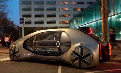 """Renault EZ-GO H Renault παρουσιάζει το όραμα της για μια πιο ελεύθερη και άνετη μετακίνηση για όλους Στην 88η έκθεση της Γενεύης, η Renault, με την αποκάλυψη του πρωτότυπου EZ-GO, παρουσιάζει μια ολοκληρωμένη πρόταση για τις αστικές μετακινήσεις του μέλλοντος. 120 χρόνια από την γέννηση της, η Renault πρωτοπορεί για ακόμα μία φορά, ανοίγοντας το δρόμο ώστε οι αστικές μετακινήσεις να γίνουν πιο άνετες, ασφαλείς, ευχάριστες, αλλά και προσιτές για όλους. Μια παρέα πέντε φίλων που διασκεδάζουν αποφασίζουν πως ήρθε η ώρα να επιστρέψουν στο σπίτι τους. Έτσι απλά μέσω της συσκευής του κινητού τους τηλεφώνου καλούν ένα ρομπο-ταξί, ένα όχημα που κινείται αυτόνομα και είναι σχεδιασμένο για το αστικό περιβάλλον. Το όχημα μεταφέρει τον κάθε επιβάτη στο σπίτι του με απόλυτη ασφάλεια και άνεση. Το παραπάνω παράδειγμα αποτελεί μόνο μία από τις περιπτώσεις όπου οχήματα σαν το πρωτότυπο Renault EZ-GO θα μπορούσαν να εξυπηρετήσουν τις πόλεις του μέλλοντος. Εργαζόμενοι, τουρίστες, μητέρες με μικρά παιδιά, ηλικιωμένοι, άτομα με κινητικά προβλήματα, όλοι θα μπορούν να απολαμβάνουν τη μετακίνηση τους με το Renault EZ-GO. Κεντρική ιδέα πίσω από τη δημιουργία του εντυπωσιακού πρωτοτύπου, είναι η ελευθερία μετακίνησης για όλους. Το EZ-GO είναι ένα ηλεκτρικό*, αυτόνομο όχημα με μεγάλες δυνατότητες συνδεσιμότητας και σχεδιαστικά χαρακτηριστικά που του επιτρέπουν να είναι ιδιαίτερα πρακτικό και αποδοτικό. Η φιλοσοφία """"Easy Life"""", που πιστά υπηρετεί η Renault εδώ και 120 χρόνια, αντικατοπτρίζεται απόλυτα στο EZ-GO. Η άνετη πρόσβαση στο εσωτερικό μέσω του ανοιγόμενου εμπρός μέρους και της ράμπας εισόδου, οι άνετες θέσεις σε σχήμα U και οι μεγάλες γυάλινες επιφάνειες είναι μερικά από τα στοιχεία που δημιουργούν το ιδανικό περιβάλλον για τις καθημερινές μετακινήσεις. Η ασφάλεια επίσης αποτελεί ένα από τα πλεονεκτήματα του EZ-GO με δεδομένο ότι η αυτόνομη οδήγηση έχει σαν αποτέλεσμα τη μείωση των ατυχημάτων. Το Renault EZ-GO αποτελεί ένα αναπόσπαστο κομμάτι της πόλης, το οποίο συμβάλει στην βελτίωσ"""