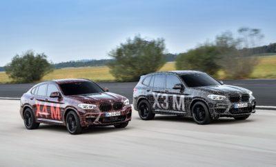 Η BMW M GmbH επεκτείνει τη γκάμα μοντέλων υψηλών επιδόσεων στις κατηγορίες Sports Activity Vehicles (SAV) και Sports Activity Coupes (SAC). Ο κλασικός, σπορ χαρακτήρας των μοντέλων BMW θα 'περάσει' σε δύο ακόμα εκδόσεις της οικογένειας BMW X, η παραγωγή των οποίων έχει ήδη ξεκινήσει. Κατά τη διάρκεια των αγώνων DTM στο Nürburgring, το Σαββατοκύριακο 7 – 9 Σεπτεμβρίου 2018, πρωτότυπες BMW X3 M και BMW X4 M θα δοκιμαστούν στην πίστα. Αυτό σημαίνει ότι τα καμουφλαρισμένα οχήματα προ-παραγωγής θα κάνουν την πρώτη τους δημόσια εμφάνιση ακριβώς εκεί όπου οι δυναμικές αρετές των BMW X3 M και BMW X4 M θα αγγίξουν το ανώτατο επίπεδο ωριμότητάς τους. Στο Nürburgring, κατά παράδοση, ολοκληρώνεται το τελικό στάδιο δοκιμών και το πρόγραμμα σεταρίσματος για το συνολικό πακέτο M, που περιλαμβάνει σύστημα κίνησης, ανάρτηση και αεροδυναμική. Με μεγάλους αεραγωγούς μπροστά, ειδικά αεροδυναμικά βοηθήματα M και σύστημα εξαγωγής με τέσσερις απολήξεις ενσωματωμένες στην πίσω ποδιά, τα οχήματα ήδη φέρουν τα χαρακτηριστικά ενός μοντέλου BMW M σε αρχικό στάδιο της διαδικασίας εξέλιξής τους. Από τεχνολογικής απόψεως, το στοιχείο που ξεχωρίζει στις BMW X3 M και BMW X4 M είναι ένας νέος, straight six κινητήρας με τεχνολογία M TwinPower Turbo και ιδιαίτερη ευστροφία. Μέρος της διαδικασίας εξέλιξης είναι το τελικό 'tuning' της τεχνολογίας M xDrive που λανσαρίστηκε για πρώτη φορά στη νέα BMW M5. Η τεχνολογία αυτή χρησιμοποιείται στις BMW X3 M και BMW X4 M για να εξασφαλίζει εξαιρετική και χωρίς διακοπές μεταφορά ισχύος σε όλους τους τροχούς, με στόχο τις υψηλές επιδόσεις. Η εξέλιξη του συστήματος τετρακίνησης για τις απαιτήσεις των μοντέλων M εγγυάται μέγιστη ελκτική πρόσφυση και κατανομή ροπής χωρίς απώλειες, για την επίτευξη μιας άκρως δυναμικής συμπεριφοράς. Με τη συμβολή του ενεργού πίσω διαφορικού Μ, το δυναμικό στρίψιμο, η ευελιξία και η ακριβής συμπεριφορά των BMW X3 M και BMW X4 M ανεβαίνουν σε επίπεδο που δεν μπορεί να συγκριθεί με τον ανταγωνισμό. «Με ειδικά χαρακτηριστικά επιδόσεων M, 
