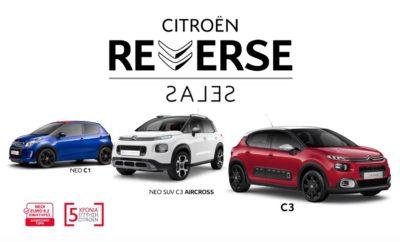 "Με ένα νέο Citroën, όλοι μπορούν να μπουν ""με το δεξί"" στο 2019 και να απολαύσουν την προηγμένη τεχνολογία, την κορυφαία άνεση και τους βραβευμένους κινητήρες. Παράλληλα, με τους διαθέσιμους συνδυασμούς εξατομίκευσης, με τους κινητήρες που συμμορφώνονται με τις αυστηρότερες προδιαγραφές Euro 6.2, ολόκληρη η γκάμα των αυτοκινήτων της Citroën καλύπτει όλες τις ανάγκες του κάθε υποψήφιου αγοραστή! Η Citroën όμως, δεν σταματάει εκεί! Έχοντας ήδη προσφέρει τους πιο ευρηματικούς αλλά και ανταγωνιστικούς όρους απόκτησης, η Citroën ανατρέπει για ακόμη μία φορά τα δεδομένα, με την ενέργεια: ""CITROËN REVERSE SALES""! Κατά τη διάρκεια της ενέργειας, η Citroën αλλάζει ξανά ρόλους με τους καταναλωτές και δίνει τη δυνατότητα να πουλήσουν εκείνοι το παλιό τους αυτοκίνητο και να επιλέξουν μέσα από την πλήρη γκάμα των μοντέλων της Μάρκας, το δικό τους, ολοκαίνουργιο Citroën, σε τιμή… REVERSE SALES! Η γκάμα των ολοκαίνουργιων μοντέλων είναι άμεσα διαθέσιμη και συνοδεύεται από το μοναδικό πρόγραμμα CITROËN ADVANCED COMFORT® που εγγυάται ένα απόλυτα άνετο οδηγικό περιβάλλον. Παράλληλα, η 5ετής εγγύηση της Citroën, καλύπτει πλήρως τις απαιτήσεις των καταναλωτών για ένα ασύγκριτα ήρεμο και αξιόπιστο 2019, αλλά και για το μέλλον! Η νέα χρονιά ξεκινά δυναμικά στο Επίσημο Δίκτυο Διανομέων Citroën! Για περισσότερες πληροφορίες επισκεφθείτε την επίσημη ιστοσελίδα www.citroen.gr ή την σελίδα http://c3.citroen.gr/aircross/offers/ , έως τις 31 Ιανουαρίου!"