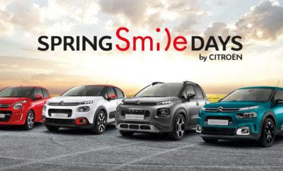 """Για λίγες ημέρες, το πρόγραμμα """"SPRING SMILE DAYS"""" σας προσφέρει μοναδικά προνόμια αγοράς και σας δίνει τη δυνατότητα να γίνετε μέλος της εκατονταετούς ιστορίας της Μάρκας, επιλέγοντας ένα μοντέλο από τη νέα, μοντέρνα και σύγχρονη γκάμα επιβατικών αυτοκινήτων Citroën. Όλα τα νέα μοντέλα είναι άμεσα διαθέσιμα για εσάς με 5ετή εγγύηση Citroën που σας εξασφαλίζει μοναδική σιγουριά και αξιοπιστία, με προνομιακή χρηματοδότηση που περιλαμβάνει 36 άτοκες δόσεις και ειδικές τιμές ανάλογα την έκδοση. Βιώστε μία πρωτόγνωρη εμπειρία άνεσης CITROËN ADVANCED COMFORT® που εξασφαλίζει σωματική και πνευματική ευεξία και απολαύστε την οδήγηση με τους διεθνώς βραβευμένους κινητήρες Εuro 6.2 για 4η συνεχόμενη χρονιά, οι οποίοι συνδυάζουν ιδανικά τη δύναμη με την χαμηλή κατανάλωση! Τώρα χαμογελάτε άνετα! Κάντε ένα Citroën δικό σας στο Επίσημο Δίκτυο Διανομέων Citroën, έως τις 10 Μαΐου. Για περισσότερες πληροφορίες, επισκεφθείτε το Επίσημο Δίκτυο Διανομέων CITROËN ή την ιστοσελίδα Spring Smile Days by Citroen."""