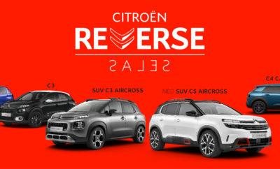 Το πρόγραμμα CITROËN REVERSE SALES, δίνει σε εσάς τη δυνατότητα να πουλήσετε το παλιό σας αυτοκίνητο και να αγοράσετε ένα ολοκαίνουργο CITROËN C1, C3, SUV C3 AIRCROSS, C4 CACTUS και το ΝΕΟ SUV C5 AIRCROSS με προνομιακή χρηματοδότηση και 5 χρόνια εγγύηση. Όλα τα μοντέλα προσφέρονται με νέους κινητήρες Euro 6.2 οι οποίοι συνδυάζουν ιδανικά τη δύναμη με την χαμηλή κατανάλωση και όλα τα οφέλη, την τεχνολογία και την άνεση που προσφέρει το CITROËN ADVANCED COMFORT®. Επισκεφτείτε κι εσείς ένα κατάστημα του δικτύου CITROËN με το παλιό σας αυτοκίνητο για να πετύχετε την καλύτερη δυνατή ανταλλαγή και να φύγετε με το CITROËN που σας ταιριάζει. Ήρθε η ώρα για το νέο σου CITROËN. Παρ' το αλλιώς, σε συμφέρει! Κάντε ένα Citroën δικό σας στο Επίσημο Δίκτυο Διανομέων Citroën, έως τις 30 Ιουνίου. Για περισσότερες πληροφορίες, επισκεφθείτε το Επίσημο Δίκτυο Διανομέων CITROËN ή την ιστοσελίδα Citroen Reverse Sales.