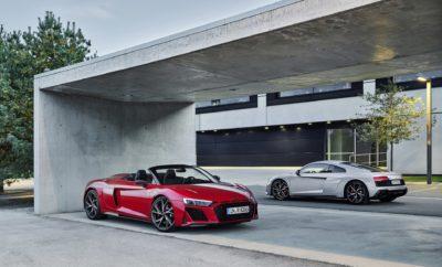 • Η πισωκίνητη έκδοση του σούπερ σπορ μοντέλου είναι πλέον επίσημο μέλος της γκάμας • Νέος εξωτερικός σχεδιασμός, αντίστοιχος με αυτόν των ανανεωμένων R8 quattro, τόσο για το μοντέλο παραγωγής όσο και το αγωνιστικό • Ατμοσφαιρικός V10 5,2 λίτρων με 540 ίππους που εξασφαλίζει το 0-100 χλμ./ώρα σε 3,7 δευτερόλεπτα Από ειδικό μοντέλο, σε μοντέλο παραγωγής! Το Audi R8 V10 RWD, με κίνηση στους πίσω τροχούς, είναι πλέον μοντέλο της κανονικής γκάμας. Υπό αυτό το πρίσμα, η εξωτερική του εμφάνιση έχει επανασχεδιαστεί προκειμένου να το καταστήσει ακόμα πιο εντυπωσιακό: θα έχει τα ίδια χαρακτηριστικά με το R8 V10 quattro. Ο τοποθετημένος στο κέντρο V10, που εδώ αποδίδει 540 ίππους, καθώς και η πίσω κίνηση προσφέρουν μια γνήσια οδηγική απόλαυση. Παράλληλα, το αρκετά όμοιο με το μοντέλο παραγωγής αγωνιστικό Audi R8 LMS GT4, που παρουσιάστηκε ταυτόχρονα, έχει επίσης νέα εμφάνιση και βελτιώσεις. Το αγωνιστικό αυτοκίνητο της διεθνούς κατηγορίας GT4 θα προσφέρει στο μέλλον στους ιδιώτες οδηγούς ακόμη πιο μεγάλες δυνατότητες για ρυθμίσεις ακριβείας. Το μοντέλο παραγωγής: Audi R8 V10 RWD Η σχεδίαση του R8 V10 RWD - Η νέα σχεδίαση τονίζει απόλυτα τη δυναμική του Audi R8 V10 RWD, που είναι διαθέσιμο και ως Coupé και ως Spyder. Η μάσκα Singleframe είναι πιο φαρδιά και πιο επίπεδη, ενώ οι εισαγωγές κάτω από το καπό παραπέμπουν στο θρυλικό Audi Sport quattro. Οι εισαγωγές αέρα, το εμπρός σπόιλερ και ειδικά οι πίσω γρίλιες εξαγωγής αέρα έχουν γίνει αισθητά πιο φαρδιές. Ο διαχύτης, στα άκρα του οποίου υπάρχουν οι δύο οβάλ απολήξεις της εξάτμισης, έχει μετακινηθεί προς τα πάνω. Στο χώρο του κινητήρα, το φίλτρο αέρα έχει ένα καινούργιο κάλυμμα, το οποίο είναι διαθέσιμο είτε σε πλαστικό είτε σε ανθρακόνημα. Οι πλευρικές εισαγωγές του R8 V10 RWD υποδηλώνουν τον ιδιαίτερο χαρακτήρα του μοντέλου: η πάνω είναι σε γυαλιστερό μαύρο mythos, ενώ η κάτω στο χρώμα του αμαξώματος. Η εμπρός εισαγωγή, τα ενθέματα στα μαρσπιέ και ο διαχύτης είναι στάνταρ σε γυαλιστερό μαύρο. Εναλλακτικά διατίθεται το πακέτο 