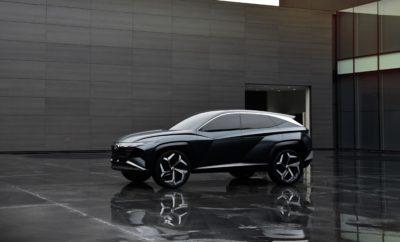"""• Το Vision T αποτελεί το έβδομο concept του Hyundai Design Center της Hyundai Motor Company • Το Vision T Hybrid SUV Concept είναι ένα καινοτόμο, φιλικό προς το περιβάλλον συμπαγές SUV με δυναμικά χαρακτηριστικά Η Hyundai παρουσίασε το καινοτόμο Vision T Plug-in Hybrid SUV Concept στο AutoMobility του 2019 στο Λος Άντζελες. Το Vision T είναι το έβδομο από μια σειρά concepts του Hyundai Design Center που εκφράζουν την εξελισσόμενη σχεδιαστική γλώσσα του Sensuous Sportiness της Hyundai. """"Επιδιώκουμε καινοτόμες λύσεις στο σχεδιασμό και προσθέτουμε συναισθηματική αξία στην εμπειρία μας μέσω της αισθητικής σχεδιαστικής γλώσσας"""", δήλωσε ο κ. SangYup Lee, Senior Vice President και Head του Hyundai Global Design Center. Το SUV concept έχει ματ-πράσινο εξωτερικό φινίρισμα και τροφοδοτείται από ένα plug-in υβριδικό σύστημα κίνησης που εστιάζει στην ισορροπία του με το περιβάλλον στο οποίο κινείται. Με γνώμονα την σχεδιαστική φιλοσοφία Sensuous Sportiness της Hyundai, η σχεδίαση του Vision T περιστρέφεται γύρω από τον δυναμισμό και ως εκ τούτου, το Vision T Concept φιλοδοξεί να είναι στην αιχμή των πιο δυναμικών σχεδιαστικά SUV. Είναι ένα όραμα της νέας σχεδιαστικής κατεύθυνσης των SUVs. Το προφίλ του Vision T αποπνέει μια συνεχή αίσθηση ταχύτητας και κίνησης προς τα εμπρός έχοντας μήκος 4.610 χλστ, πλάτος 1.938 χλστ., ύψος 1.704 χλστ., ενώ το μεταξόνιό του είναι μεγάλο κι ανέρχεται στα 2.804 χλστ. Η μεγάλη και επίπεδη οροφή σε συνδυασμό με το μακρύ μεταξόνιο και τις μικρές προεξοχές αντανακλούν ένα πολύ δυναμικό χαρακτήρα. Σε αντίθεση με τα ανταγωνιστικά συμπαγή SUV, το Vision T διαθέτει γεωμετρικές γωνίες και αιχμές για να δημιουργήσει μια εντυπωσιακή αντίθεση μεταξύ της κομψής σιλουέτας και της περιρρέουσας γραμμής. Ξεχωριστή θέση στον σχεδιασμό του Hyundai Vision T κατέχει η ενεργή γρίλια στη μάσκα του που ανοίγει όταν το όχημα κινείται και κλείνει όταν ακινητοποιείται. Επιπρόσθετα τα εμπρός LED φώτα, αλλά κι η ενιαία «γραμμή» των πίσω φωτιστικών σωμάτων συμπληρώνουν το π"""