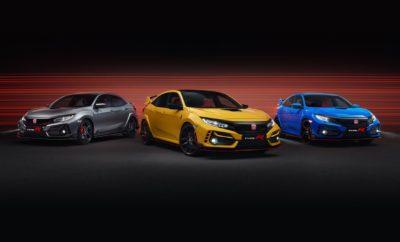 Η Honda επεκτείνει τη γκάμα του Civic Type R με την προσθήκη δύο νέων εκδόσεων, Limited Edition και Sport Line. Με βάση εκκίνησης τις δυναμικές επιδόσεις του στάνταρ Type R GT, το καθένα από τα δύο νέα μοντέλα αποτελεί μία διαφορετική πρόταση από άποψη στυλ και επιδόσεων, διευρύνοντας την απήχηση του επιτυχημένου hatchback μοντέλου της Honda. Με το Civic Type R Limited Edition, η Honda παρουσιάζει την πιο ισχυρή έκδοση του διάσημου μοντέλου υψηλών επιδόσεων. Φιλοδοξώντας να είναι η πιο καθαρόαιμη έκδοση στην ιστορία του Type R, το Civic Type R Limited Edition διαθέτει νέα ελαφρά εξαρτήματα, ένα μινιμαλιστικό εσωτερικό, αναβαθμισμένη οδική συμπεριφορά και ξεχωριστό στυλ. Η δεύτερη έκδοση που πλαισιώνει την οικογένεια Type R είναι η Sport Line. Απευθυνόμενη στους πελάτες που αναζητούν μία πιο απέριττη εμφάνιση από το υψηλών επιδόσεων hatchback, η έκδοση Sport Line διαθέτει χαμηλή πίσω αεροτομή, ζάντες αλουμινίου 19 ιντσών και μαύρο σαλόνι, και διατηρεί τις έξοχες επιδόσεις που αποτελούν σήμα κατατεθέν των μοντέλων Type R. Οικογένεια 2020 Civic Type R Όλα τα μοντέλα της σειράς 2020 Honda Civic Type R, συμπεριλαμβανομένου του υπάρχοντος Type R GT, έχουν ανανεωθεί στιλιστικά σε αρκετά σημεία. Η σχεδίαση του εμπρός προφυλακτήρα έχει γίνει πιο αεροδυναμική, ενώ τα πλαίσια των προβολέων ομίχλης υιοθετούν νέα, συμμετρική σχεδίαση με λείες επιφάνειες και κομψές ακμές. Ανασχεδιασμένοι προβολείς full LED και φώτα ημέρας ολοκληρώνουν τη σχεδιαστική καθαρότητα που θα χαρακτηρίζει όλη την οικογένεια Civic. Η μεγαλύτερη εισαγωγή αέρα και η λεπτότερη μάσκα προσφέρουν αυξημένη ροή αέρα κατά 13%. Μαζί με ένα αναβαθμισμένο ψυγείο, οι βελτιώσεις αυτές πετυχαίνουν μείωση στη θερμοκρασία του ψυκτικού μέχρι κατά 10 βαθμούς (εσωτερικές δοκιμές της Honda) σε συνθήκες υψηλών απαιτήσεων, όπως στην πίστα. Οι μηχανικοί του Type R επέμειναν και στην παραμικρή λεπτομέρεια. Παράδειγμα, η ελαφρά μείωση στην εμπρός αεροδυναμική πίεση λόγω μεγαλύτερης εισαγωγής αέρα αντισταθμίστηκε από το ανασχεδιασμέ